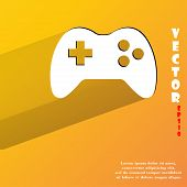 Gaming Joystick. Flat modern web button with long shadow and space for your text.