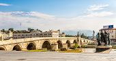 picture of macedonia  - Stone bridge across the Vardar River in Skopje  - JPG