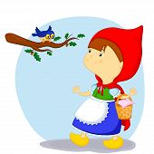 stock photo of little red riding hood  - little red riding hood saw a bird - JPG