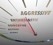 Aggressive and related terms such as enthusiastic, forceful, active and alert on a speedometer or ga