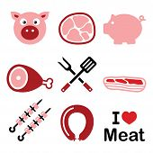 Pig, pork meat - pink ham and bacon icons set
