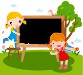 Happy children and blackboard