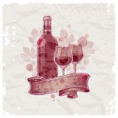 Grunge hand drawn wine bottle & glasses on vintage paper background