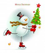 Holiday illustration - Smiling snowman with Christmas tree in hands skating on ice