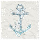 Hand drawn anchor on grunge paper background