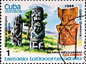 Postage Stamp Shows Example Quimbaya Culture