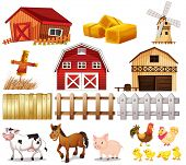Illustration of the things and animals found at the farm on a white background