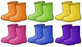 Illustration of a group of colorful boots on a white background