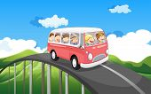 Illustration of a school bus with kids travelling