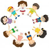 Illustration of the kids forming a circle on a white background