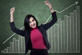 Businesswoman Celebrates Her Achievement