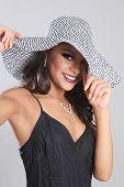 Beautiful Fashionable Woman Wearing a Hat