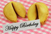 Happy Birthday card with fortune cookies