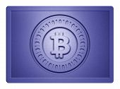 pic of bronze silver gold platinum  - Blue metallic plate with bitcoin logo stamp on it and clippingpath for white background removal - JPG