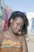 Young beauty in an African shanty town