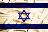 Israel Flag On A Silk Drape Waving