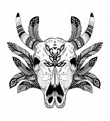 psychedelic ethnic cow scull with feathers
