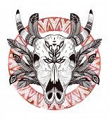 foto of cow skeleton  - psychedelic ethnic cow scull with feathers and border - JPG