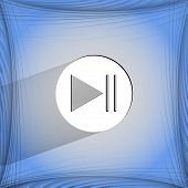 Play button web icon on a flat geometric abstract background