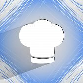 Chef cap. Cooking. Flat modern web button  on a flat geometric abstract background