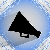 Megaphone, Loud-hailer icon on a flat geometric abstract background