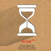 Sand clock. Glass timer . Flat modern web button with long shadow and space for your text