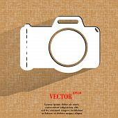 Photo camera. Flat modern web button on a flat geometric abstract background