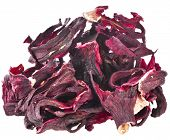 Heap pile of Hibiscus Petals tea  isolated on white background