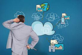 pic of half-dressed  - Thinking businessman against cloud computing doodle - JPG