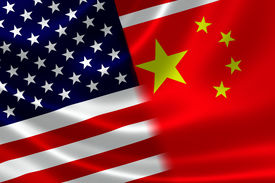stock photo of merge  - 3D rendering of a merged Chinese and USA flag on satin texture - JPG