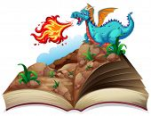 Illustration of a story book and a dragon