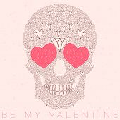 Vector Funny, Candy, Brown Skull With Heart Eyes, Diamonds, Brilliants. Love And Valentine's Day