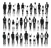 Silhouettes of Casual People in a Row Vector