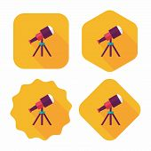 Telescope Flat Icon With Long Shadow