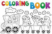 Coloring book train theme 2 - eps10 vector illustration.