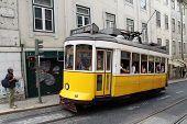 Vintage Tram On The Streets Of Lisbon