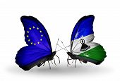 Two Butterflies With Flags On Wings As Symbol Of Relations Eu And Lesotho