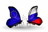 Two Butterflies With Flags On Wings As Symbol Of Relations Eu And Russia