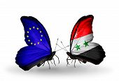 Two Butterflies With Flags On Wings As Symbol Of Relations Eu And Syria