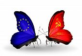 Two Butterflies With Flags On Wings As Symbol Of Relations Eu And Soviet Union