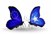 Two Butterflies With Flags On Wings As Symbol Of Relations Eu And Somalia