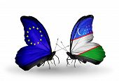 Two Butterflies With Flags On Wings As Symbol Of Relations Eu And Uzbekistan