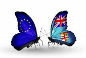 Two Butterflies With Flags On Wings As Symbol Of Relations Eu And Fiji