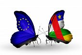 Two Butterflies With Flags On Wings As Symbol Of Relations Eu And Car