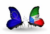 Two Butterflies With Flags On Wings As Symbol Of Relations Eu And Equatorial Guinea