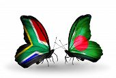 Two Butterflies With Flags On Wings As Symbol Of Relations South Africa And Bangladesh