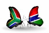 Two Butterflies With Flags On Wings As Symbol Of Relations South Africa And Gambia