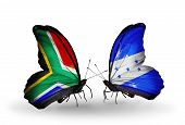 Two Butterflies With Flags On Wings As Symbol Of Relations South Africa And Honduras
