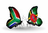 Two Butterflies With Flags On Wings As Symbol Of Relations South Africa And Dominica