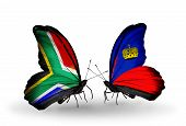 Two Butterflies With Flags On Wings As Symbol Of Relations South Africa And Liechtenstein